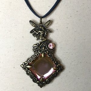 Jewelry - Bronze Tone Pink Rhinestone Fairy Pendant Necklace